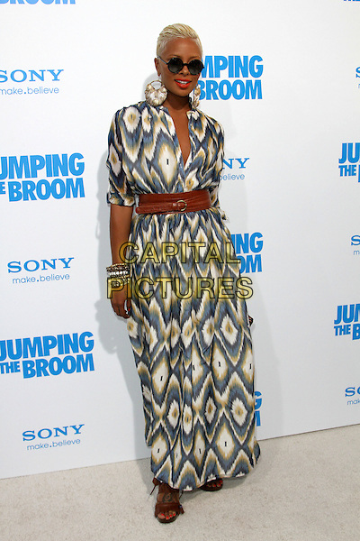 "EVA MARCILLE.""Jumping The Broom"" Los Angeles Premiere Held At The Arclight Cinerama Dome Theatre, Hollywood, California, USA..May 4th, 2011.full length blue beige white print dress brown belt sunglasses shades maxi.CAP/ADM/KB.©Kevan Brooks/AdMedia/Capital Pictures."