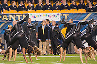 Members of the Pitt Panthers dance team perform during a break. The North Carolina Tar Heels football team defeated the Pitt Panthers 26-19 on Thursday, October 29, 2015 at Heinz Field, Pittsburgh, Pennsylvania.
