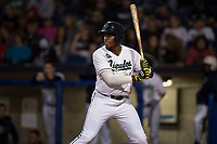Hillsboro Hops first baseman Francis Martinez (23) at bat during a Northwest League game against the Salem-Keizer Volcanoes at Ron Tonkin Field on September 1, 2018 in Hillsboro, Oregon. The Salem-Keizer Volcanoes defeated the Hillsboro Hops by a score of 3-1. (Zachary Lucy/Four Seam Images)