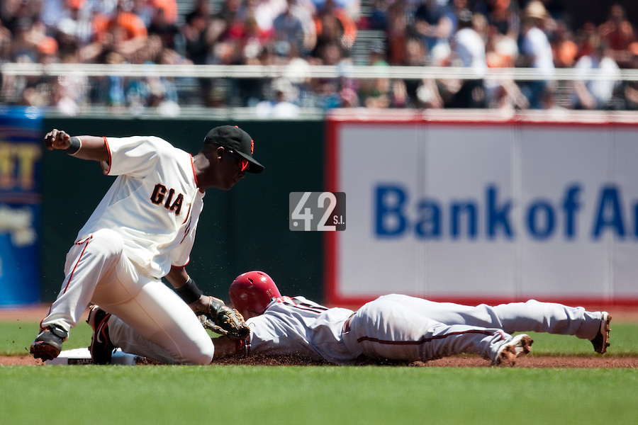 18 April 2009: Arizona Diamondbacks' Augie Ojeada is out at second base as San Francisco Giants' Edgar Renteria tags him during the San Francisco Giants' 2-0 loss to the Arizona Diamondbacks at AT&T Park in San Francisco, CA.