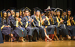 WATERBURY, CT-062117JS13- Kennedy graduates applaud the remarks given by School Superintendent Kathleen M. Ouellete during graduation ceremonies Wednesday at Kennedy High School in Waterbury.  Jim Shannon Republican-American