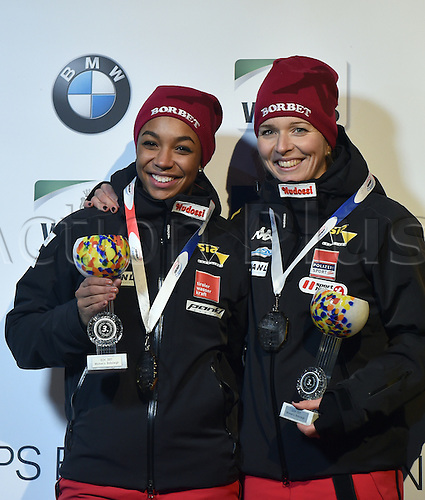 13.01.2017. Winterberg, Germany.  Austrian bobsleighers Christina Hengster (R) and Jennifer Onasanya celebrate after taking third place at the Bobsleighing World Cup in Winterberg, Germany, 13 January 2017.
