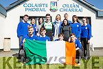 Castleisland commuity college Darragh Begley who will captain the Ireland team at the World Cheerleaders Championship which will be held in Disneyland Florida on the 21st April got a great send off from his class mates on Tuesday front row l-r: Aaron Gallagher, Alex fleming, James Beazley, Callum Casey. Back row: Shane Browne, Jessica Clifford, Ann Marie Hickey, Donncha Hickey, Marie O'Shea, Mary Brosnan and Kelly Ruttledge