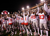 "Ohio State players sing ""Carmen Ohio"" following the Buckeyes' 56-14 win over the Nebraska Cornhuskers in the NCAA football game at Memorial Stadium in Lincoln, Neb. on Oct. 14, 2017. [Adam Cairns/Dispatch]"