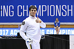 DURHAM, NC - FEBRUARY 26: Notre Dame's Ariel Simmons reacts after winning the Men's Epee championship. The Atlantic Coast Conference Fencing Championships were held on February, 26, 2017, at Cameron Indoor Stadium in Durham, NC.