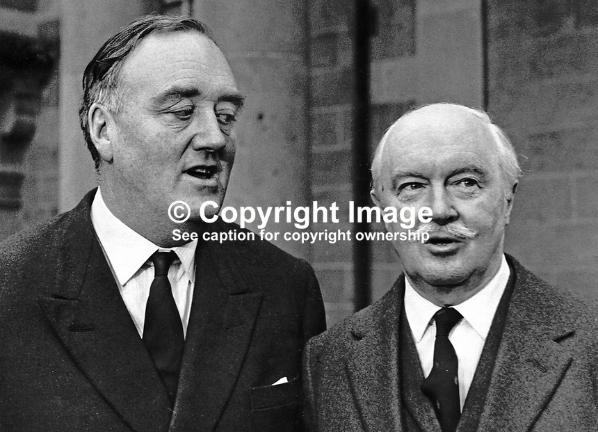 William Whitelaw, MP, UK, Conservative Party, and newly appointed as Secretary of State for N Ireland, calls on the Governor of N Ireland, Lord Grey of Naunton, at Government House, Hillsborough, N Ireland. 25th March 1972. 197203250160WW1.<br />