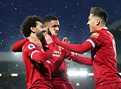 17th March 2018, Anfield, Liverpool, England; EPL Premier League football, Liverpool versus Watford; Roberto Firmino of Liverpool celebrates his goal for 3-0 with team mate Mohammed Salah