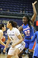 SEATTLE, WA - DECEMBER 18: Savannah State's Charmia Graham against Washington.  Washington won 87-36 over Savannah State at Alaska Airlines Arena in Seattle, WA.
