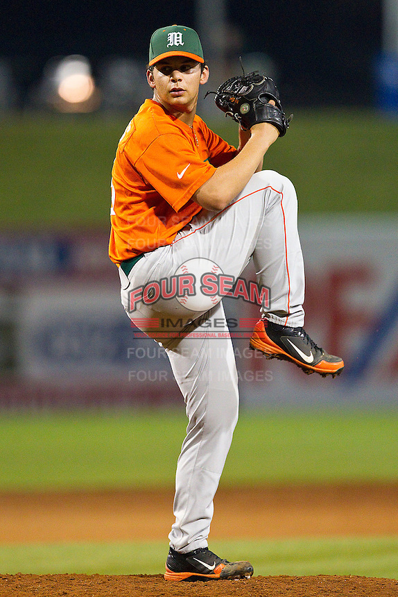 Miami Hurricanes relief pitcher AJ Salcines #16 in action against the Wake Forest Demon Deacons at NewBridge Bank Park on May 25, 2012 in Winston-Salem, North Carolina.  The Hurricanes defeated the Demon Deacons 6-3.  (Brian Westerholt/Four Seam Images)