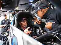 Mar 16, 2019; Gainesville, FL, USA; NHRA former top fuel driver Don Garlits (left) reacts as he warms up the dragster of Antron Brown during qualifying for the Gatornationals at Gainesville Raceway. Mandatory Credit: Mark J. Rebilas-USA TODAY Sports