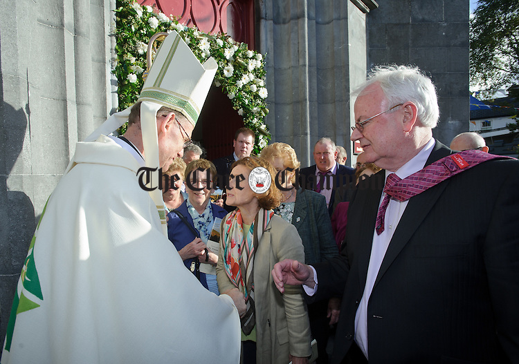 Fr Fintan Monahan greets the public at the church door following his Episcopal ordination as Bishop of Killaloe in Ennis Cathedral. Photograph by John Kelly.