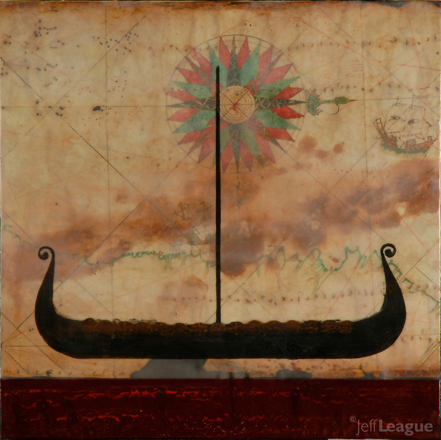 Mixed media encaustic photo painting of viking ship over antique map with compass rose.