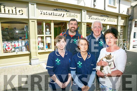Caroline Dunn, Katie Houlihan Bernadette O Callaghan Back Eugene McGath Jr. and Snr. at McGrath Veterinary Clinic, Market Street