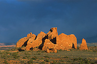 Red rock spires with snowy mountains in background-Arches National Park, Utah