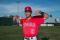 AZL Angels shortstop Jeremiah Jackson (8) poses for a photo before an Arizona League game against the AZL Padres 2 at Tempe Diablo Stadium on July 18, 2018 in Tempe, Arizona. The AZL Padres 2 defeated the AZL Angels 8-1. (Zachary Lucy/Four Seam Images)