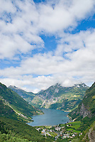 View of Geiranger Fjord from surrounding mountain, Norway