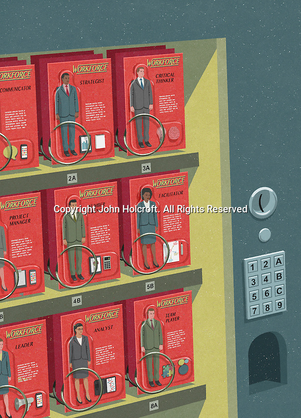 Businessmen and businesswomen with different teamwork skills in vending machine