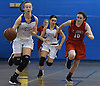 Samantha Muller #23 of North Babylon, left, races downcourt on a fast break during a non-league girls basketball game against St. John the Baptist at Robert Moses Middle School in North Babylon on Saturday, Dec. 22, 2018. She scored 26 points in North Babylon's 71-61 win.