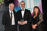 © Joel Goodman - 07973 332324 . 03/03/2016 . Manchester , UK . Michael Hardacre , president of Manchester Law Society , winner Partner of the Year ROB ELVIN of Squire Patton Boggs (centre) . The Manchester Legal Awards from the Midland Hotel . Photo credit : Joel Goodman