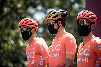 Ninja's or cyclists?<br /> <br /> Greg Van Avermaet (BEL/CCC) & teammates at the sign-on podium<br /> <br /> 14th Strade Bianche 2020<br /> Siena > Siena: 184km (ITALY)<br /> <br /> delayed 2020 (summer!) edition because of the Covid19 pandemic > 1st post-Covid19 World Tour race after all races worldwide were cancelled in march 2020 by the UCI