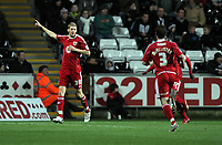 ATTENTION SPORTS PICTURE DESK<br /> Pictured: Jon Stead of Bristol (L) celebrating his opening goal.<br /> Re: npower Championship, Swansea City FC v Bristol City Football Club at the Liberty Stadium, south Wales. Wednesday 10 November 2010