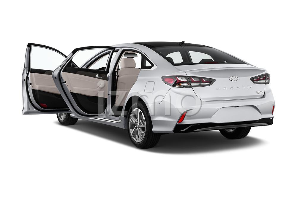Car images close up view of a 2018 Hyundai Sonata Hybrid Limited 4 Door Sedan doors