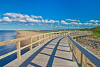 Boardwalk and sand dunes and beaches at Irving Eco-Centre, Bouctouche, New Brunswick, Canada