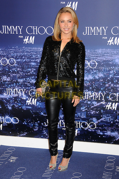 HAYDEN PANETTIERE.Jimmy Choo for H&M Launch Party held at a Private Residence, West Hollywood, California, USA..November 2nd, 2009.full length black beaded sequined sequins jacket leather trousers pants shoes silver peep toe shoes clutch bag sparkly zip up .CAP/ADM/BP.©Byron Purvis/AdMedia/Capital Pictures.