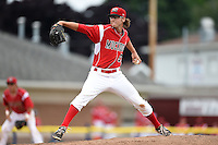 Batavia Muckdogs pitcher Hayden Fox (55) delivers a pitch during a game against the Williamsport Crosscutters on July 27, 2014 at Dwyer Stadium in Batavia, New York.  Batavia defeated Williamsport 6-5.  (Mike Janes/Four Seam Images)