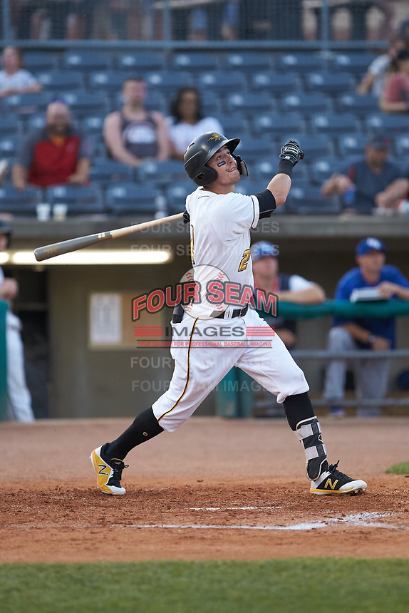 Kyle Watson (2) of the West Virginia Power follows through on his swing against the Lexington Legends at Appalachian Power Park on June 7, 2018 in Charleston, West Virginia. The Power defeated the Legends 5-1. (Brian Westerholt/Four Seam Images)