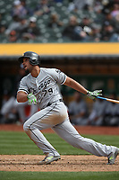 OAKLAND, CA - APRIL 18:  Jose Abreu #79 of the Chicago White Sox bats against the Oakland Athletics during the game at the Oakland Coliseum on Wednesday, April 18, 2018 in Oakland, California. (Photo by Brad Mangin)