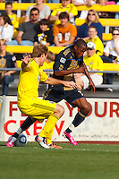 24 OCTOBER 2010:  Columbus Crew defender Chad Marshall (14) and Philadelphia Union midfielder Danny Mwanga (10) during MLS soccer game at Crew Stadium in Columbus, Ohio on August 28, 2010.