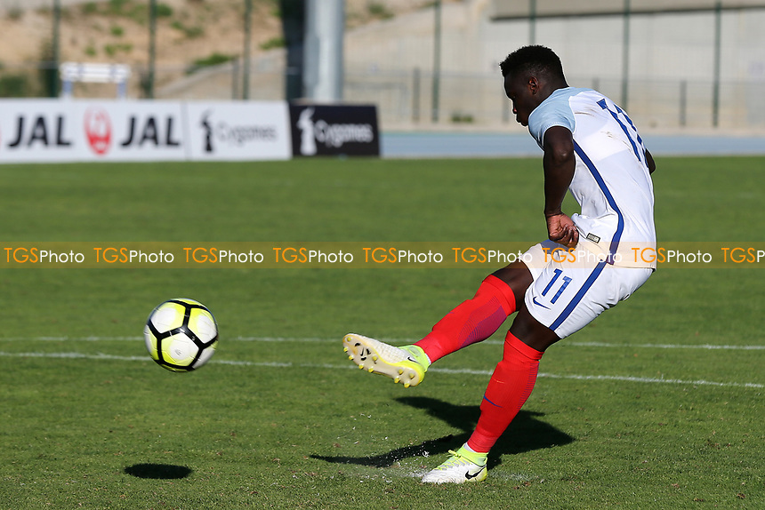 Ronaldo Vieira of Leeds United scores England's match winning penalty in the shoot out during England Under-18 vs Ivory Coast Under-20, Toulon Tournament Final Football at Stade de Lattre-de-Tassigny on 10th June 2017