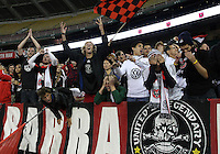 WASHINGTON, DC - OCTOBER 20, 2012:  Emotional fans of D.C United at the end of the Columbus Crew MLS match at RFK Stadium in Washington D.C. on October 20. D.C United won 3-2.