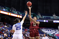 GREENSBORO, NC - MARCH 06: Taylor Soule #13 of Boston College shoots over Jade Williams #25 of Duke University during a game between Boston College and Duke at Greensboro Coliseum on March 06, 2020 in Greensboro, North Carolina.