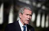 United States President George W. Bush makes a statement on the South Lawn of the White House December 5, 2008 in Washington, DC.  President Bush spoke about the economy being in a recession and the current jobless rate. <br /> Credit: Brendan Smialowski / Pool via CNP