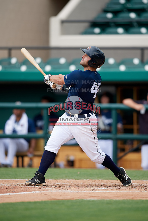 Lakeland Flying Tigers first baseman Wade Hinkle (46) follows through on a swing during a game against the St. Lucie Mets on June 11, 2017 at Joker Marchant Stadium in Lakeland, Florida.  Lakeland defeated St. Lucie 1-0.  (Mike Janes/Four Seam Images)