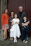 Grace O'Shea, with Parents Julie and Barry and sisters Sophie and Elizabeth. at First communion in St Marys church.<br /> Picture www.newsfile.ie