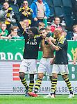 ***BETALBILD***  <br /> Solna 2015-05-31 Fotboll Allsvenskan AIK - Helsingborgs IF :  <br /> AIK:s Nabil Bahoui med bar &ouml;verkropp firar sitt 2-1 m&aring;l med Mohamed Bangura och Alessandro Pereira under matchen mellan AIK och Helsingborgs IF <br /> (Foto: Kenta J&ouml;nsson) Nyckelord:  AIK Gnaget Friends Arena Allsvenskan Helsingborg HIF jubel gl&auml;dje lycka glad happy matchtr&ouml;ja tr&ouml;ja