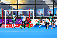 Gonzallo Peillat of Argentina sees his shoot narrowly miss the goal during the Hockey World League Quarter-Final match between Argentina and Pakistan at the Olympic Park, London, England on 22 June 2017. Photo by Steve McCarthy.