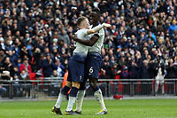 Davinson Sanchez of Tottenham Hotspur is congratulated after scoring the first goal during Tottenham Hotspur vs Leicester City, Premier League Football at Wembley Stadium on 10th February 2019