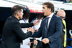 Real Madrid coach Julen Lopetegui and Atletico de Madrid  coach Diego Pablo Simeone during La Liga match between Real Madrid and Atletico de Madrid at Santiago Bernabeu Stadium in Madrid, Spain. September 29, 2018. (ALTERPHOTOS/Borja B.Hojas)