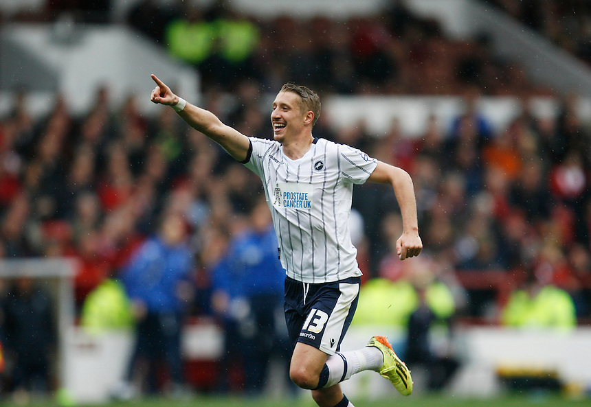 Millwall's Lee Martin celebrates scoring his sides second goal <br /> <br /> Photo by Jack Phillips/CameraSport<br /> <br /> Football - The Football League Sky Bet Championship - Nottingham Forest v Millwall - Saturday 5th April 2014 - The City Ground - Nottingham<br /> <br /> &copy; CameraSport - 43 Linden Ave. Countesthorpe. Leicester. England. LE8 5PG - Tel: +44 (0) 116 277 4147 - admin@camerasport.com - www.camerasport.com