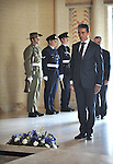 Secretary General of NATO Anders Rasmussen lays a wreath at the tomb of the unknown soldier, Australian War Memorial, Canberra, on Thursday June 14th 2012. AFP PHOTO / Mark GRAHAM