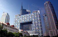 The cubic Stock Exchange in the Pudong area of Shanghai, China. The Pudong area is the newly developed commercial district of Shanghai and is home to some of China's most modern buildings..