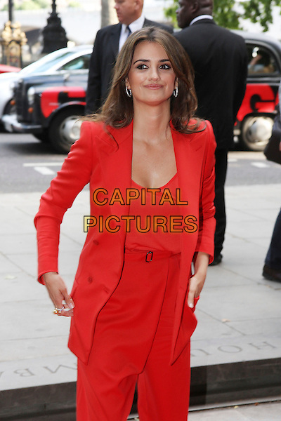 "PENELOPE CRUZ .Attending the UK Film Premiere of ""Broken Embraces"" (Los Abrazos Rotos) at Somerset House, London, England, UK, July 30th 2009..half length red blazer jacket shoulder pads catsuit pantsuit jumpsuit high waisted waist belt top trousers  loose baggy .CAP/MAR.©Martin Harris/Capital Pictures"