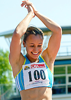 23 MAY 2010 - LOUGHBOROUGH, GBR - Jessica Ennis celebrates clearing the bar at 1.93m in the Womens High Jump at the Loughborough International Athletics (PHOTO (C) NIGEL FARROW)