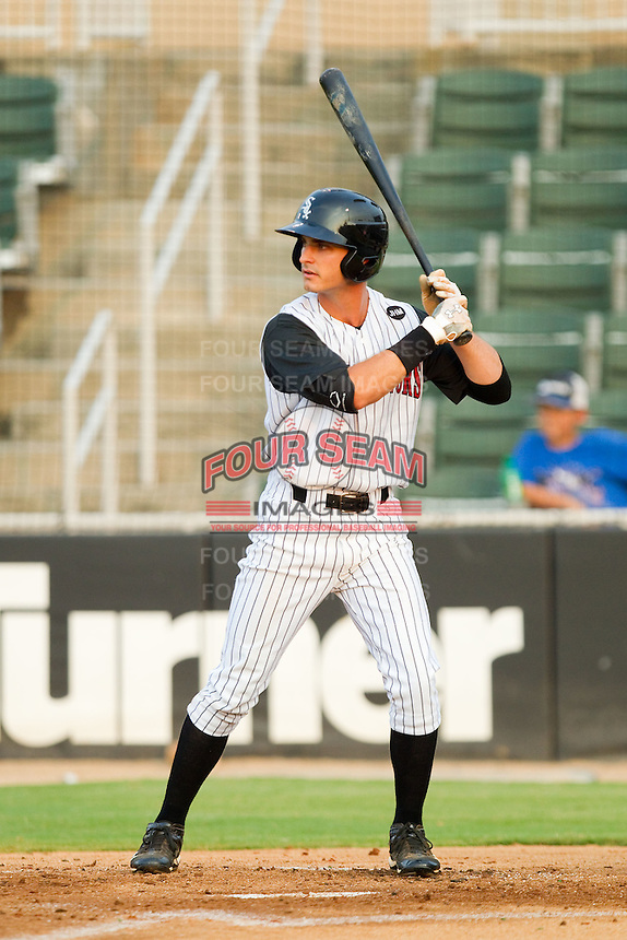 John Spatola #18 of the Kannapolis Intimidators at bat against the Hagerstown Suns at Fieldcrest Cannon Stadium August 10, 2010, in Kannapolis, North Carolina.  Photo by Brian Westerholt / Four Seam Images