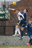 7th March 2020; Somerset Park, Ayr, South Ayrshire, Scotland; Scottish Championship Football, Ayr United versus Dundee FC; Connor Malley of Ayr United competes in the air with Jordan McGhee of Dundee