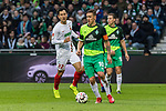 10.02.2019, Weserstadion, Bremen, GER, 1.FBL, Werder Bremen vs FC Augsburg<br /> <br /> DFL REGULATIONS PROHIBIT ANY USE OF PHOTOGRAPHS AS IMAGE SEQUENCES AND/OR QUASI-VIDEO.<br /> <br /> im Bild / picture shows<br /> Dong-Won Ji (FC Augsburg #22), Max Kruse (Werder Bremen #10), Niklas Moisander (Werder Bremen #18), <br /> <br /> Foto © nordphoto / Ewert